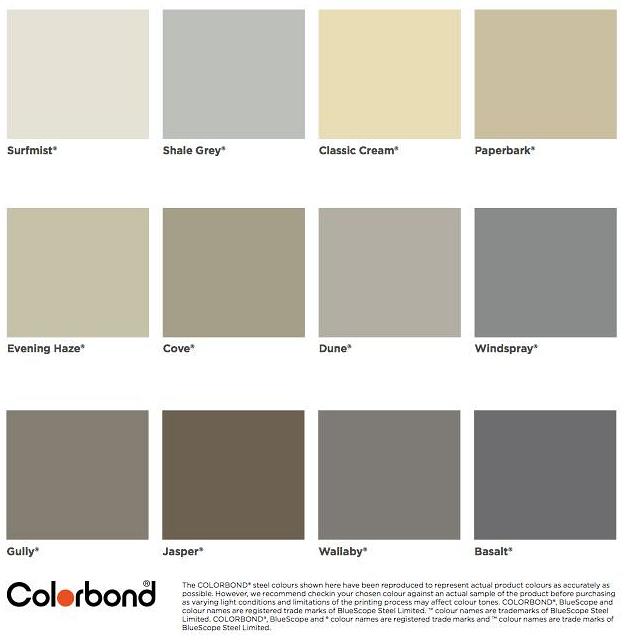 Sesame Garage Doors Colorbond 174 Colour Chart Sesame